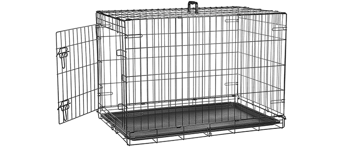 amazonbasics single door double door folding metal dog crate