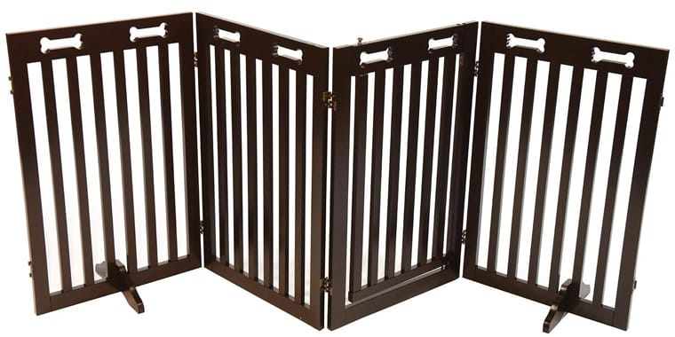 Arf Pets Free Standing Wood Dog Gate with Walk Through Gate