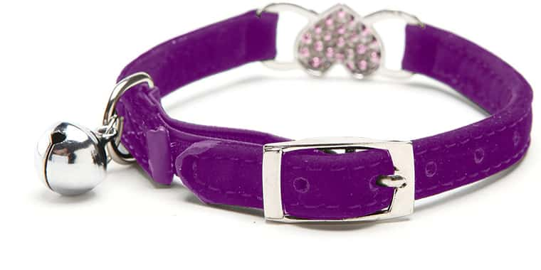 KOOLTAIL Heart Bling Cat Collar with Safety Belt and Bell